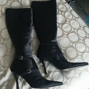 Sergio Rossi Satin Knee High Boots with Dust Bag
